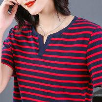 T-shirt 178 bright red, 178 green, 178 brown, 801 black, 802 orange green, 345 pink, 345 royal blue, 345 khaki M,L,XL,2XL,3XL,4XL,5XL Summer 2020 Short sleeve V-neck easy Regular routine commute cotton 86% (inclusive) -95% (inclusive) Korean version youth Coarse horizontal stripe 2021-178#