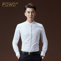 shirt Fashion City POWO white routine stand collar Long sleeves Self cultivation go to work Four seasons youth Cotton 60% polyester 40% Chinese style 2018 Solid color Color woven fabric Spring of 2018 No iron treatment Pure e-commerce (online only)