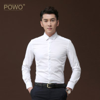 shirt Business gentleman POWO 45 46 37 38 39 40 41 42 43 44 White dark blue black routine square neck Long sleeves Self cultivation go to work Four seasons youth Cotton 60% polyester 40% Business Casual 2017 Solid color Summer 2017 No iron treatment Embroidery Pure e-commerce (online only)