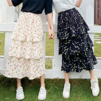 skirt Summer 2020 Average size 8039 black flower, 8049 apricot flower Mid length dress Versatile High waist Cake skirt Broken flowers Type A 25-29 years old 91% (inclusive) - 95% (inclusive) Chiffon polyester fiber