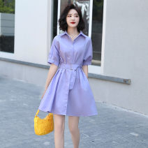 Dress Summer 2020 Violet white orange bean paste Pink Blue Off Shoulder Dress Purple off shoulder dress S M L XL Mid length dress singleton  Short sleeve commute Polo collar Loose waist Solid color Single breasted A-line skirt routine Others 25-29 years old Type A Chu Xin Korean version Bandage other