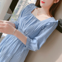 Dress Summer 2021 Pink white blue S M L XL longuette singleton  Long sleeves commute square neck High waist Solid color Socket A-line skirt puff sleeve 18-24 years old Type A Chu Xin fold More than 95% Chiffon other Other 100% Pure e-commerce (online only)