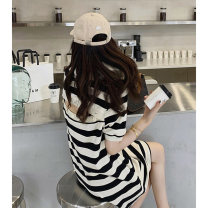 T-shirt Black and white red yellow S M L XL Summer 2021 Short sleeve Crew neck easy Medium length routine commute other 96% and above 18-24 years old Korean version originality Thick horizontal stripe Acting moment W-6508 Other 100% Pure e-commerce (online only)