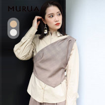 shirt White Beige F Winter 2020 other 96% and above Long sleeves Original design Regular Polo collar other 25-29 years old MURUA Other 100%