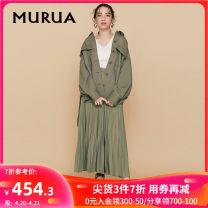 Casual pants Beige Khaki black F Spring 2020 trousers Wide leg pants High waist Versatile MURUA fold Polyester 100%