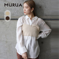 shirt Black Brown Ivory F Spring 2021 cotton 51% (inclusive) - 70% (inclusive) Long sleeves other Regular other Socket other 18-24 years old Straight cylinder MURUA Cotton 65% pan 35% Same model in shopping mall (sold online and offline)