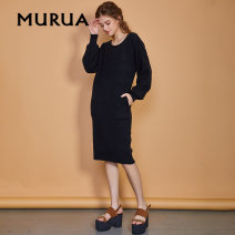 Dress Autumn of 2018 Black green Beige Average size Mid length dress Long sleeves Crew neck puff sleeve 18-24 years old MURUA More than 95% other Other 100%