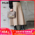 skirt Autumn 2020 S M Beige Brown longuette Versatile Natural waist A-line skirt Solid color 18-24 years old More than 95% MURUA polyester fiber Polyester 100%