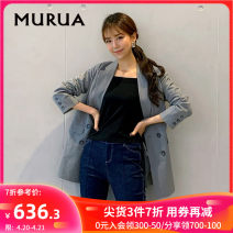 short coat Spring 2020 S M Long sleeves Medium length routine singleton  Straight cylinder routine tailored collar double-breasted Solid color 18-24 years old MURUA 96% and above cotton Cotton 100%