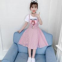Dress Pink, light blue female Yu Lingtong language 110cm,120cm,130cm,140cm,150cm,160cm Cotton 90% other 10% summer Korean version Short sleeve stripe cotton Splicing style Class B Chinese Mainland Guangdong Province Foshan City