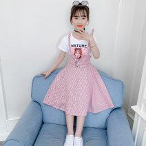 Dress Pink, light blue female Yu Lingtong language 110cm,120cm,130cm,140cm,150cm,160cm Cotton 90% other 10% summer Korean version Short sleeve stripe cotton Splicing style Class B Chinese Mainland Guangdong Province Foshan City