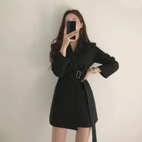 suit Spring 2020 black S M L XL 2XL Long sleeves Medium length Self cultivation tailored collar Buckle commute routine Solid color YD202011 51% (inclusive) - 70% (inclusive) polyester fiber Mengxiu Yizi Pocket tie Polyester 70% viscose 30% Pure e-commerce (online only)