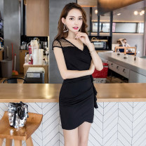 Dress Summer 2020 Black, pink S,M,L,XL Short skirt singleton  Short sleeve commute V-neck middle-waisted Solid color Socket One pace skirt raglan sleeve Others 18-24 years old Type A CINISIOR Retro zipper 81% (inclusive) - 90% (inclusive) other other