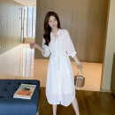 Dress Summer 2021 white S,M,L,XL Mid length dress Two piece set elbow sleeve commute stand collar Loose waist Solid color Single breasted other camisole Type H Other / other Korean version Lace up, button 31% (inclusive) - 50% (inclusive) other