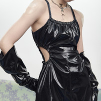 Dress Spring 2021 Reflective black S,M,L Short skirt singleton  Sleeveless commute One word collar High waist Solid color Socket A-line skirt routine camisole 25-29 years old Type A Simplicity Hollow, bright silk, strap, zipper 21OA023 71% (inclusive) - 80% (inclusive) other PU