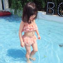 Bathing suit 90cm 100cm 110cm 120cm 130cm 140cm Polyethylene terephthalate (polyester) 88% polyurethane elastic fiber (spandex) 12% White purple pink Other / other female Children's split swimsuit Class B