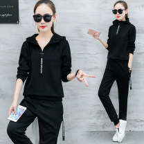 Women's large Summer of 2018 Other oversize styles Two piece set commute easy moderate Socket Short sleeve letter Korean version Crew neck routine Modal cotton printing and dyeing routine Trace rainbow 25-29 years old Three dimensional decoration 91% (inclusive) - 95% (inclusive) trousers Epaulet