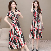 Dress Summer 2021 Pay attention to red bar and yellow bar and give priority to delivery L XL 2XL 3XL 4XL Mid length dress singleton  Short sleeve commute V-neck middle-waisted Decor Socket A-line skirt routine Others 35-39 years old Type A Murray Korean version Zipper printing MR-21CY896#