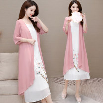 Dress Summer 2021 Pink, blue, yellow, purple pay attention to store priority delivery M L XL 2XL 3XL Mid length dress singleton  three quarter sleeve commute Crew neck Loose waist Solid color Socket A-line skirt routine Others 40-49 years old Type A Murray Korean version Splicing MR-21CY796#