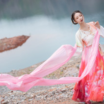 National costume / stage costume Autumn of 2019 Printed three piece set with gradient color, white pullover, plain neck and cuff stitching Xs, s, m, l 18-25 years old
