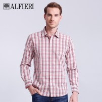 shirt Fashion City 38 39 40 41 42 43 44 Green red routine square neck Long sleeves standard Other leisure Four seasons youth Cotton 100% American leisure 2018 lattice Plaid Spring of 2018 cotton More than 95%