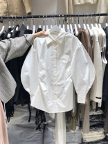 shirt White, black S,M,L,XL Spring 2021 other 71% (inclusive) - 80% (inclusive) Long sleeves commute Regular Polo collar Single row multi button puff sleeve Solid color 18-24 years old Straight cylinder Korean version Button