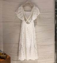 Dress Summer 2020 white S,M,L,XL longuette singleton  Short sleeve commute square neck High waist Big swing Lotus leaf sleeve 18-24 years old Type X Korean version