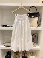 skirt Autumn 2020 S,M,L,XL White, light blue, navy Mid length dress commute High waist A-line skirt Solid color 18-24 years old 51% (inclusive) - 70% (inclusive) other Korean version