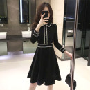 Dress Winter 2020 Black navy blue black Plush S M L XL 2XL 3XL Mid length dress singleton  Long sleeves commute Polo collar High waist Solid color Socket A-line skirt routine 25-29 years old Type A Green leaves Retro Q19803 More than 95% polyester fiber Polyester 99% other 1%