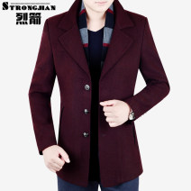 Jacket Strongjian / strong arrow Business gentleman M L XL XXL XXXL XXXXL thin Self cultivation Other leisure autumn Polyester 68.6% wool 31.4% Long sleeves Wear out tailored collar Business Casual middle age Medium length Single breasted Cloth hem No iron treatment Solid color Woollen cloth wool