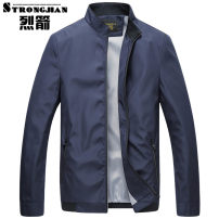 Jacket Strongjian / strong arrow Business gentleman 170/M 175/L 180/XL 185/XXL 190/XXXL 195/XXXXL thin easy Other leisure summer Polyester 100% Long sleeves Wear out stand collar Business Casual middle age routine Zipper placket Cloth hem No iron treatment Loose cuff Solid color Seldingham Zipper bag