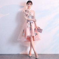 Dress / evening wear Weddings, adulthood parties, company annual meetings, daily appointments XS S M L XL XXL Korean version Medium length middle-waisted Spring of 2018 A-line skirt stand collar zipper 18-25 years old elbow sleeve Embroidery Solid color Flower Poetry routine Other 100% other