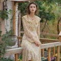 Dress Spring 2021 Apricot green XS,S,M,L longuette singleton  Long sleeves Sweet Lotus leaf collar middle-waisted Decor Socket Big swing bishop sleeve Others 25-29 years old Type X Simple Retro More than 95% Chiffon polyester fiber Countryside