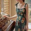 Dress Spring 2021 green XS,S,M,L longuette singleton  Sleeveless Sweet square neck High waist Decor Socket Ruffle Skirt other camisole 18-24 years old Type H Simple Retro Ruffles, pleats, folds, waves, straps, zippers, prints More than 95% Silk and satin polyester fiber Countryside