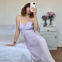 Dress Spring 2021 Yellow, purple XS,S,M,L longuette Sleeveless commute V-neck camisole Simple Retro Retro