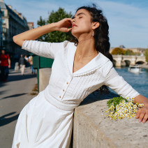 Dress Summer 2020 White, white pre 10 working days XS,S,M,L Mid length dress singleton  elbow sleeve commute V-neck High waist Broken flowers Single breasted A-line skirt routine Others 25-29 years old Type A Simple Retro Retro Embroidery, stitching More than 95% other cotton