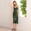 Dress Summer 2020 green XS,S,M,L Mid length dress singleton  Sleeveless commute V-neck High waist Solid color Socket Ruffle Skirt camisole 25-29 years old Type A Simple Retro Retro Bare back, strap S8114560 51% (inclusive) - 70% (inclusive) brocade polyester fiber