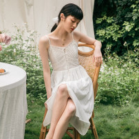 Dress Summer 2020 white XS,S,M,L Mid length dress commute V-neck High waist camisole 25-29 years old Type A Simple Retro Retro Hollow out, embroidery, Gouhua, hollow out, lace