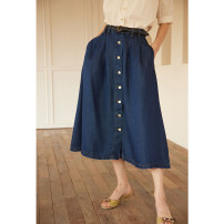 skirt Spring 2021 XS,S,M,L navy blue longuette commute High waist 25-29 years old Simple Retro Retro