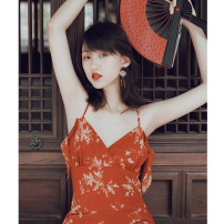 Dress Spring 2021 Koi red XS,S,M,L Mid length dress singleton  Sleeveless commute V-neck High waist Broken flowers Socket A-line skirt routine camisole 25-29 years old Type A Simple Retro Retro Open back, agaric, swallow tail, print More than 95% Chiffon polyester fiber