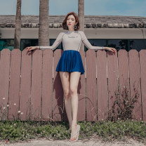 one piece  Mei Xi M,L,XL Skirt one piece With chest pad without steel support nylon female Long sleeves Casual swimsuit