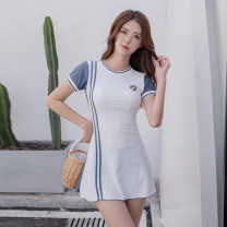 one piece  Mei Xi M,L,XL white Skirt one piece With chest pad without steel support Nylon, spandex female Short sleeve Casual swimsuit