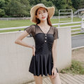 one piece  Mei Xi M,L,XL Black, white, haze blue Skirt one piece With chest pad without steel support Nylon, spandex S065 female Short sleeve Casual swimsuit Solid color