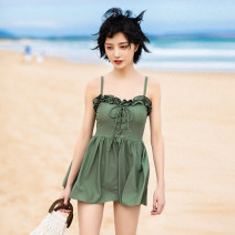 one piece  Mei Xi M,L,XL Skirt one piece With chest pad without steel support nylon female Sleeveless Casual swimsuit Solid color