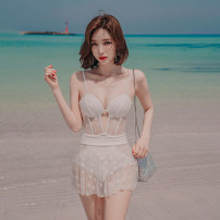 one piece  Mei Xi M,L,XL white Skirt one piece Steel strap breast pad nylon female Sleeveless Casual swimsuit Solid color Hollowing out