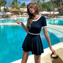 one piece  Mei Xi M,L,XL dark blue Skirt one piece With chest pad without steel support nylon female Short sleeve Casual swimsuit Solid color
