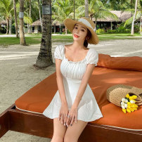 one piece  Mei Xi M,L,XL white Skirt one piece Steel strap breast pad nylon female Short sleeve Casual swimsuit Solid color