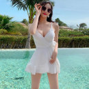 one piece  Mei Xi M,L,XL White, orange, sky blue, yellow, red, black, purple, coffee, green, pink Skirt one piece Steel strap breast pad nylon female Sleeveless Casual swimsuit Solid color