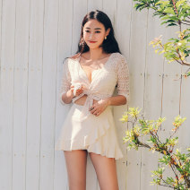 one piece  Mei Xi M,L,XL Off white Skirt one piece With chest pad without steel support nylon female Long sleeves Casual swimsuit Solid color