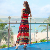 Dress Spring of 2019 Picture color S M L XL XXL longuette singleton  Sleeveless commute Crew neck Elastic waist Decor Socket Big swing Others 25-29 years old Type A Shi Lu Dan Simplicity printing SLD1856-4 More than 95% Chiffon polyester fiber Polyester 100% Pure e-commerce (online only)